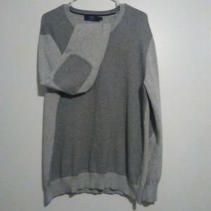 *J. CREW*Men's elbow patch sweater w/stripes